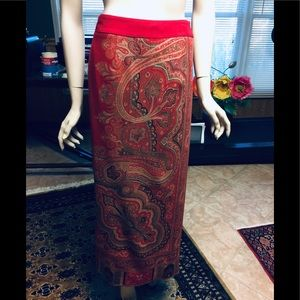 Talbots red wrap skirt size 10